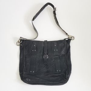 Will Leather Goods Black Lwather Crossbody Purse